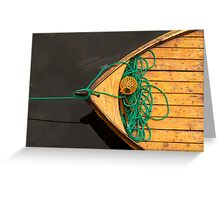 Fisherman boat with ropes and float. Norway. Greeting Card