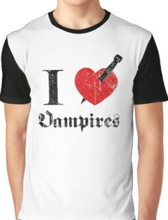 I love (to kill) Vampires (black eroded font) Graphic T-Shirt
