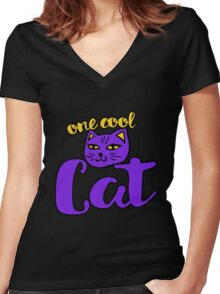 One Cool Cat Women's Fitted V-Neck T-Shirt