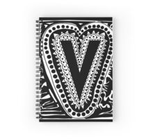 Initial V Black and White Spiral Notebook