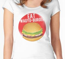 EAT WAGYU BURGER Logo Women's Fitted Scoop T-Shirt