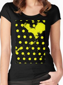 abstract polka dots yellow Women's Fitted Scoop T-Shirt