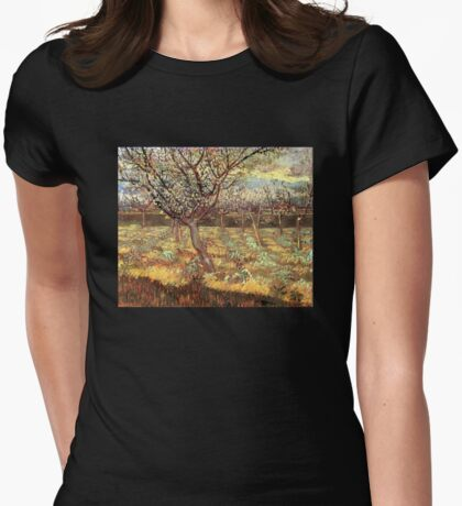 'Apricot Trees In Blossom' by Vincent Van Gogh (Reproduction) Womens Fitted T-Shirt