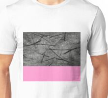 Enter Pink - Black And White Abstract Mixed Media + Block Pink Unisex T-Shirt