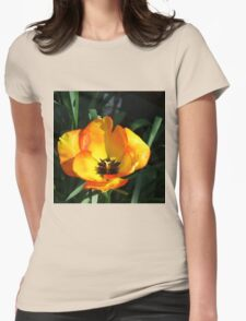 Sunlit Orange and Yellow Tulip Womens Fitted T-Shirt