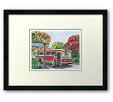 Red Bus Illustration Framed Print