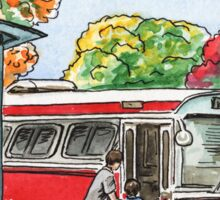 Red Bus Illustration Sticker