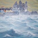 Wild day in Scalloway harbour by Redbarron