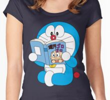 Doraemon Read Comic Book Women's Fitted Scoop T-Shirt