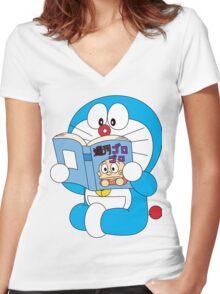 Doraemon Read Comic Book Women's Fitted V-Neck T-Shirt