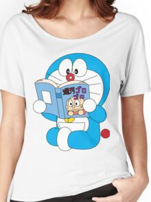 Doraemon Read Comic Book Women's Relaxed Fit T-Shirt