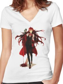 grell loves his blood Women's Fitted V-Neck T-Shirt