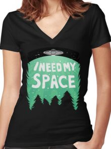 I Need My Space (Color) Women's Fitted V-Neck T-Shirt