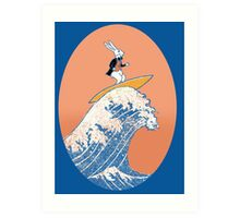 White Rabbit Surfing Art Print
