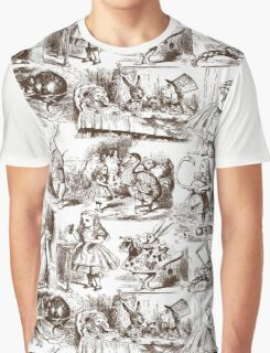 Alice in Wonderland | Toile de Jouy | White & Chocolate Brown Graphic T-Shirt