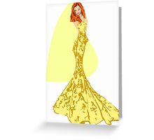 Fashion -yellow lace gown (9089 Views) Greeting Card