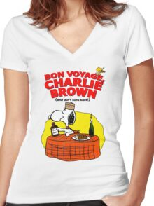 Snoopy : Bon Voyage, Charlie Brown ( And Don't Come Back! ) Women's Fitted V-Neck T-Shirt