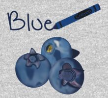 Blue Crayon with Three Blueberries One Piece - Long Sleeve