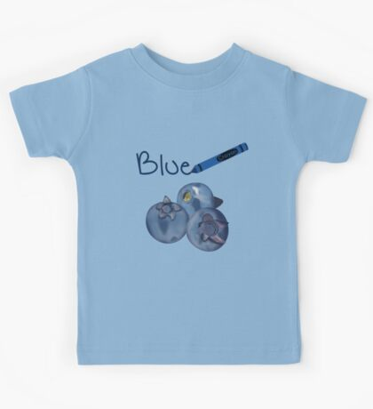 Blue Crayon with Three Blueberries Kids Tee