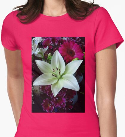 White Lily and Pink Gerbera Daisy Womens Fitted T-Shirt