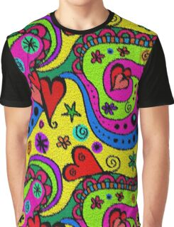 Abstract Hearts And Flowers Rug Colorful Imitation Graphic T-Shirt