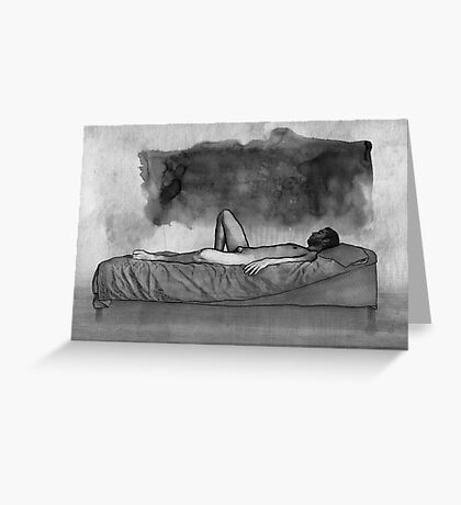 Black Thoughts - male nude lying Greeting Card