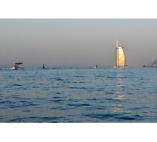 Photography of Burj al Arab hotel from Dubai seen from the sea. United Arab Emirates. Photographic Print