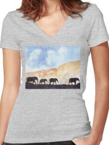 Silhouettes of Africa Women's Fitted V-Neck T-Shirt