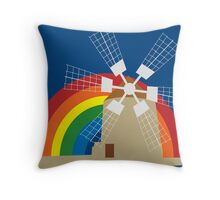 Windmill at a rainbow background Throw Pillow