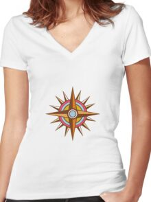 Vintage Compass Star Isolated Retro Women's Fitted V-Neck T-Shirt