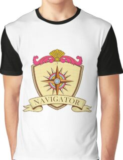 Compass Navigator Coat of Arms Crest Retro Graphic T-Shirt