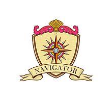 Compass Navigator Coat of Arms Crest Retro Photographic Print