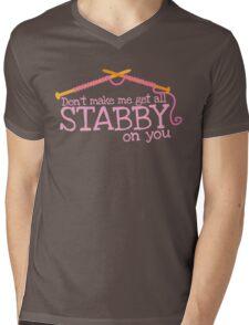 Don't make me get all stabby on you! Funny knitting knitters joke design Mens V-Neck T-Shirt