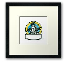 World War One Pilot Airman Spad Biplane Circle Retro Framed Print