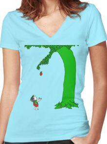Givin' tree Women's Fitted V-Neck T-Shirt