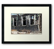 empty window burnt house Framed Print