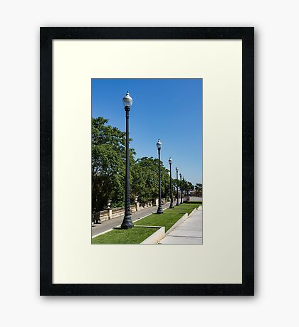 The Marching Streetlights Parade - a Perspective Study in Barcelona  Framed Print