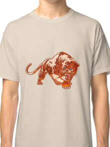 Tiger In Orange Flames With Blue Eyes Classic T-Shirt