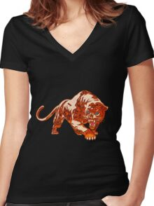 Tiger In Orange Flames With Blue Eyes Women's Fitted V-Neck T-Shirt