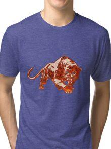 Tiger In Orange Flames With Blue Eyes Tri-blend T-Shirt