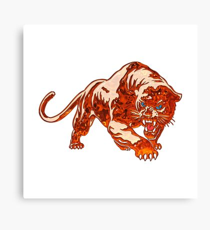 Tiger In Orange Flames With Blue Eyes Canvas Print