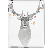 Elk with colourful lights around its antlers iPad Case/Skin