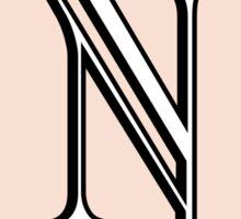 1920s Pink Champagne Gatsby Monogram letter N Sticker