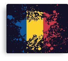 Romania Flag Ink Splatter Canvas Print