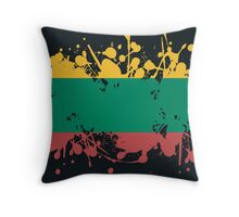 Lithuania Flag Ink Splatter Throw Pillow