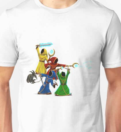 Magicka, team of wizards with small enemy Unisex T-Shirt