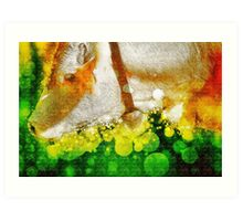 Digitally manipulated Cow with Bell. Art Print