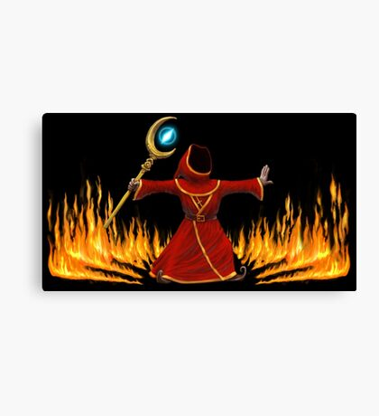 Magicka, Wizard with fire spell Canvas Print