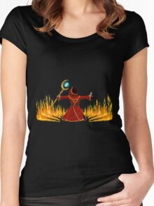 Magicka, Wizard with fire spell Women's Fitted Scoop T-Shirt