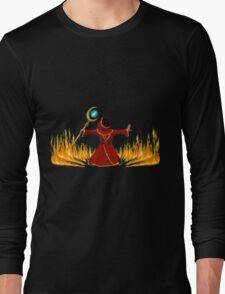 Magicka, Wizard with fire spell Long Sleeve T-Shirt